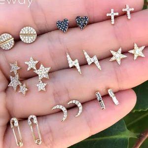 9 piece cute gold earring set
